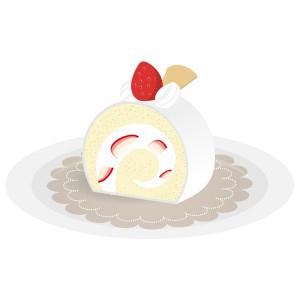 洋菓子苺ロールケーキ フリーイラスト素材 趣味で作ったイラストを