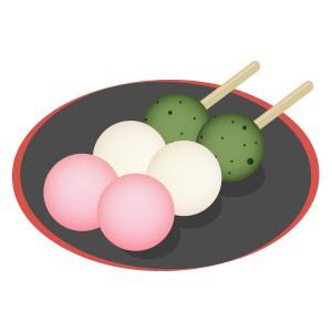 和菓子和菓子 お花見だんご フリーイラスト素材 趣味で作った