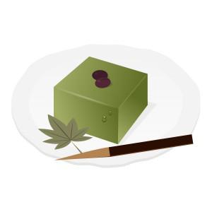 和菓子和菓子 水ようかん抹茶 フリーイラスト素材 趣味で作った