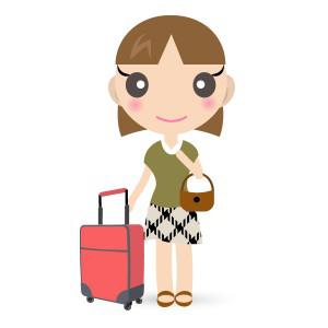 ホテルビジネスホテルスーツケースと女の子 フリーイラスト素材