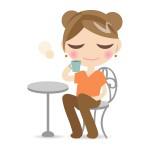 コーヒーを飲んでる女の子
