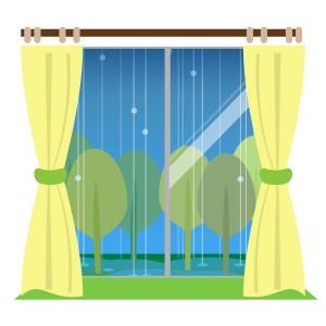窓から眺める雨の日