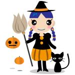 万聖節の魔女と黒猫