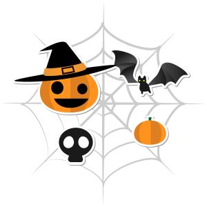 髑髏とカボチャとコウモリと蜘蛛の巣のリース