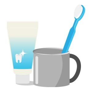 ブルーの歯ブラシと歯磨き粉