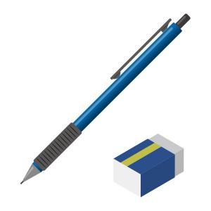 シャープペンシル(青)と消しゴム