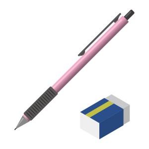 シャープペンシル(ピンク)と消しゴム