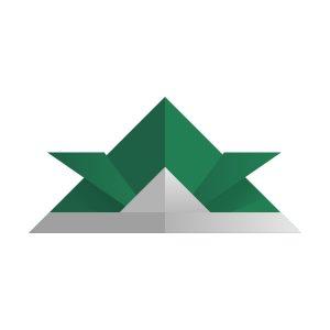 折り紙の兜(常磐色)