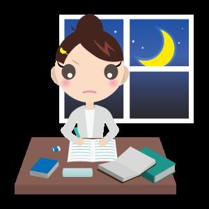勉強する女の子(夜 )01