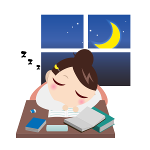 受験勉強勉強寝落ちする女の子夜 フリーイラスト素材 趣味で