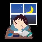 寝落ちする男の子(夜)