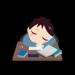 受験勉強勉強寝落ちする男の子 フリーイラスト素材 趣味で作った