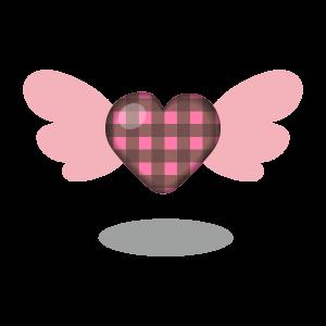 バレンタイン 羽根付きハート